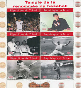 Chad 2021 CTO Sports Stamps Baseball Hall of Fame Babe Ruth 6v M/S