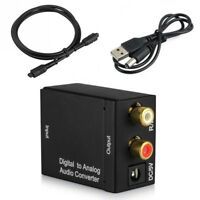 Optical Digital Coaxial Toslink to Analog RCA Audio Converter + Cables - UK