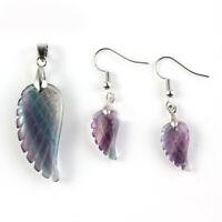 Multi Color Genuine Fluorite Gemstone Silver Pendant Earrings Set Angel Wings