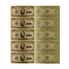 1918 Year 5000 Dollar 24k Gold Banknote Colorful Gold Foil Note Money 5pcs
