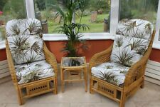Portofino Cane Conservatory Furniture Duo Set- 2 Chairs and a Side Table-Palm