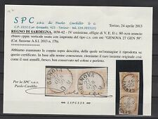 FRANCOBOLLI 1859 SARDEGNA COPPIA C.80 OCRA ARANCIO GENOVA 27/1 Z/5111