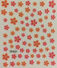 Nail Art 3D Decal Stickers Glittery Pink & Orange Flowers TFK21