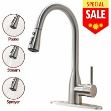 Commercial Stainless Steel Kitchen Faucet W/ Pull Down Spray Head Single Handle