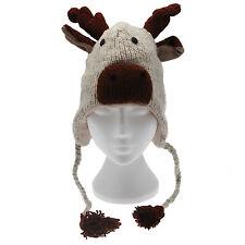 FUN Renne realizzata a mano invernale lana cappello Animale Fodera in Pile Taglia Unica, Unisex