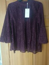 BNWT BURGUNDY VICTORIAN LACE BLOUSE TOP BELL SLEEVE FLUTE SIZE 10/12