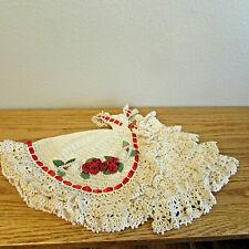Ooak Barbie Doll ~Ecrue Beige Embroidered Flowers Gown Crocheted
