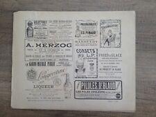 gravure originale ancienne publicité Liqueur, Delettrez, Pinaus, Pilules, corset