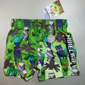 BNWT boys kids minecraft swimming swim lined pool summer shorts trunks 4-14 yrs