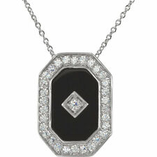 Genuine Onyx Fancy Cut Gem & CZs Classic Designi Necklace in 925 Sterling Silver