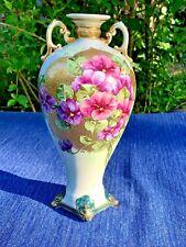 Antique CHINESE African Violet Purple GOLD DOT UNIQUE Porcelain Vase 10/6 ❤️m17