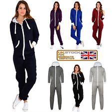 New Ladies Womens All In ONE Onesie Hooded ZIP UP Jumpsuit Playsuit UK Tracksuit