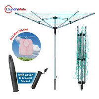 45M ROTARY AIRER 4 ARM CLOTHEs GARDEN WASHING LINE DRYER FOLDING OUTDOOR DRY NEW