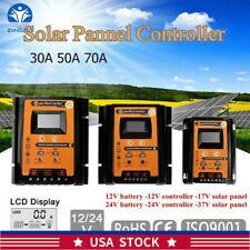 30/50/70A MPPT Solar Charge Controller Panel Battery Regulator Dual USB 12/24V