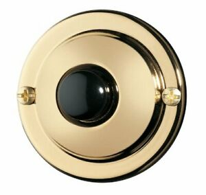 NuTone  PB67PB Polished Brass Push Button Doorbell   Classic Style Vintage Look