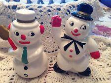Vintage Christmas Snowman Snow People Salt & Pepper Shakers Japan Set 2 Darling