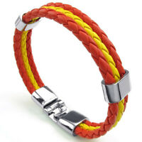 Bracelet Jewelry Alloy Leather Flag Spain for Men and Women - Width 1.4 cm C4H0