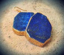 GENUINE LAPIS LAZULI BLUE EARRINGS GEM 24K GOLD EDGING *Made in America!* USA