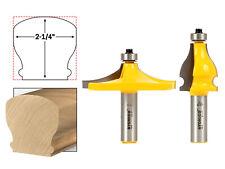 "Thumbnail & Beaded 2 Bit Handrail Router Bit Set - 1/2"" Shank - Yonico 18222"