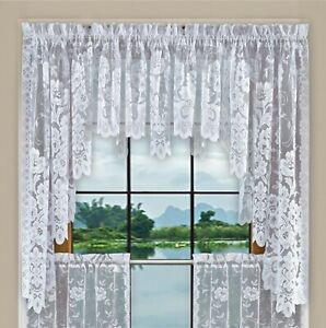Shabby Chic Floral Lace Window Curtain Panels/Balloon Curtains Separate Valances