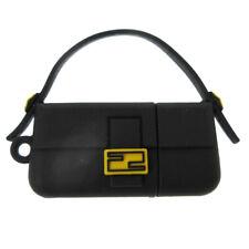 FENDI Bag Motif Pendant Necklace Top Charm Black Rubber Accessories AK39154