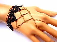 BLACK & GOLD CHAIN NET SLAVE BRACELET ring cuff lace metal steampunk goth EGL P4