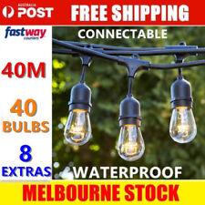 40m Festoon String Lights Kits Wedding Party Christmas Waterproof Indoor/Outdoor