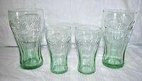 Vintage Coca Cola Green Tinted Glasses Set of 4