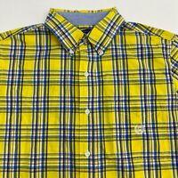 Chaps Button Up Shirt Men's Size Medium Short Sleeve Yellow Blue Plaid Easy Care