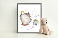 Mrs Potts and Chip Beauty and the Beast Disney Art Print Watercolor Wall Art