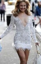 Red carpet celebrity designer white sequin feather Dress