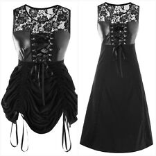 New Black Gothic PVC Bustier Corset Sexy Ruched Long Short Dress size L 12 14