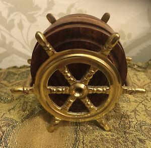Vintage Brass Ships Boat's Steering Wheel + 6 Wooden Coasters Set ...