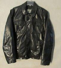 V7091 Levi's Medium Black Polyester Vinyl Full Zip Metal Snap Up Lined Jacket