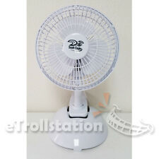"6"" inches Portable Combo Pack Table Desk Stand & Clip Cooler Fan White"