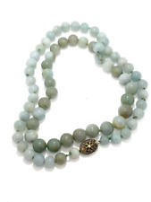 hand knotted Necklace Sterling Silver 29 Vintage 1940's Early Export Jade Beaded
