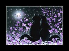 Gato Negro Estampado Flor de Cerezo por me garmashova