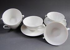 RÖSLAU 5 Suppentassen + 2 Untertassen Teller Porzellan 7 Teile WEISS Tasse Suppe