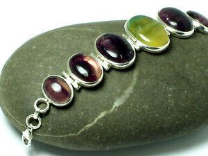 FLUORITE   Sterling Silver 925  Gemstone  Bracelet  -  Gift  Boxed!