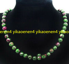 Handmade 8MM Natural Ruby Emerald Faceted Gemstone Beads Necklace 18'' AAA