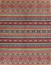 Decorative Super Kazak Geometric Area Rug Wool Hand-Knotted Oriental Carpet 9x12