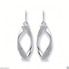9CT HALLMARKED WHITE GOLD SPARKLING MOONDUST INLAID SPIRAL DROP EARRINGS