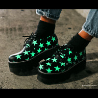 T.U.K. Shoes Black Glow Star 4-Eyelet Dino Lug Sole Platform