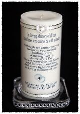 "Absence Wedding candle large personalised Memorial 6"" inch candle   #8"