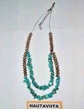 Vintage Blue Turquoise Gem Chocker Necklace Silver Metal Beads Southwest USA
