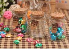 8 x 100ml Glass Jar Jars with Cork Bottle Storage Container Box - Lolly Craft