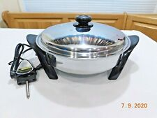 "SALADMASTER 12"" Electric Skillet 316Ti Titanium Stainless READ DENT DING SPECIAL"