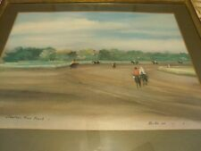 """c1960s Horse Giclee SARATOGA RACE TRACK by ROBERT ROCHE Framed 24"""" x 20"""""""