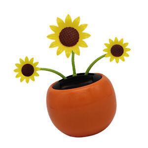 Solar Powered Dancing Flower Swinging Sunflower Dancer Toy Car Desk Decor