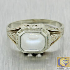 1930s Antique Art Deco Estate 14k White Gold Blue Moonstone Cocktail Ring